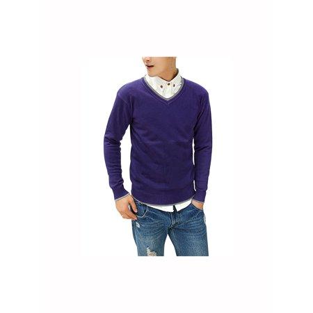 550702e78d Azzuro Men's V Neck Contrast Collar Ribbed Trim Casual Slim Fit Sweater  (Size M / 38)