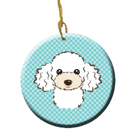 Checkerboard Blue White Poodle Ceramic Ornament, 2.81 In. - image 1 of 1