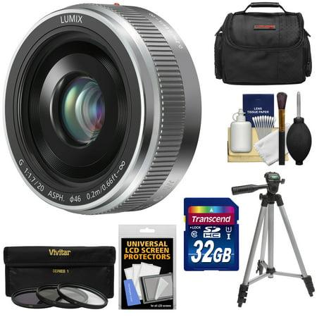 Panasonic Lumix G Vario 20mm f/1.7 II ASPH Lens (Silver) + 32GB Card + 3 Filters + Case + Tripod Kit for G7, GF7, GH3, GH4, GM1, GM5, GX7, GX8 Camera