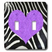 3dRose Punk Rockabilly Zebra Animal Stripe Purple Heart Print - Double Toggle Switch (lsp_20390_2)