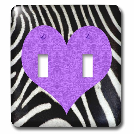 3dRose Punk Rockabilly Zebra Animal Stripe Purple Heart Print - Double Toggle Switch - Purple Zebra Print