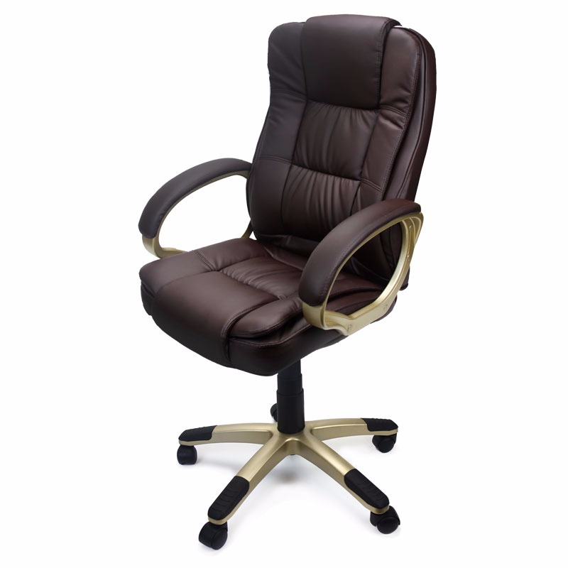 deluxe high back office chair pu leather executive, brown