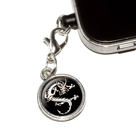 Asian Chinese Dragon - Black Mobile Phone Charm