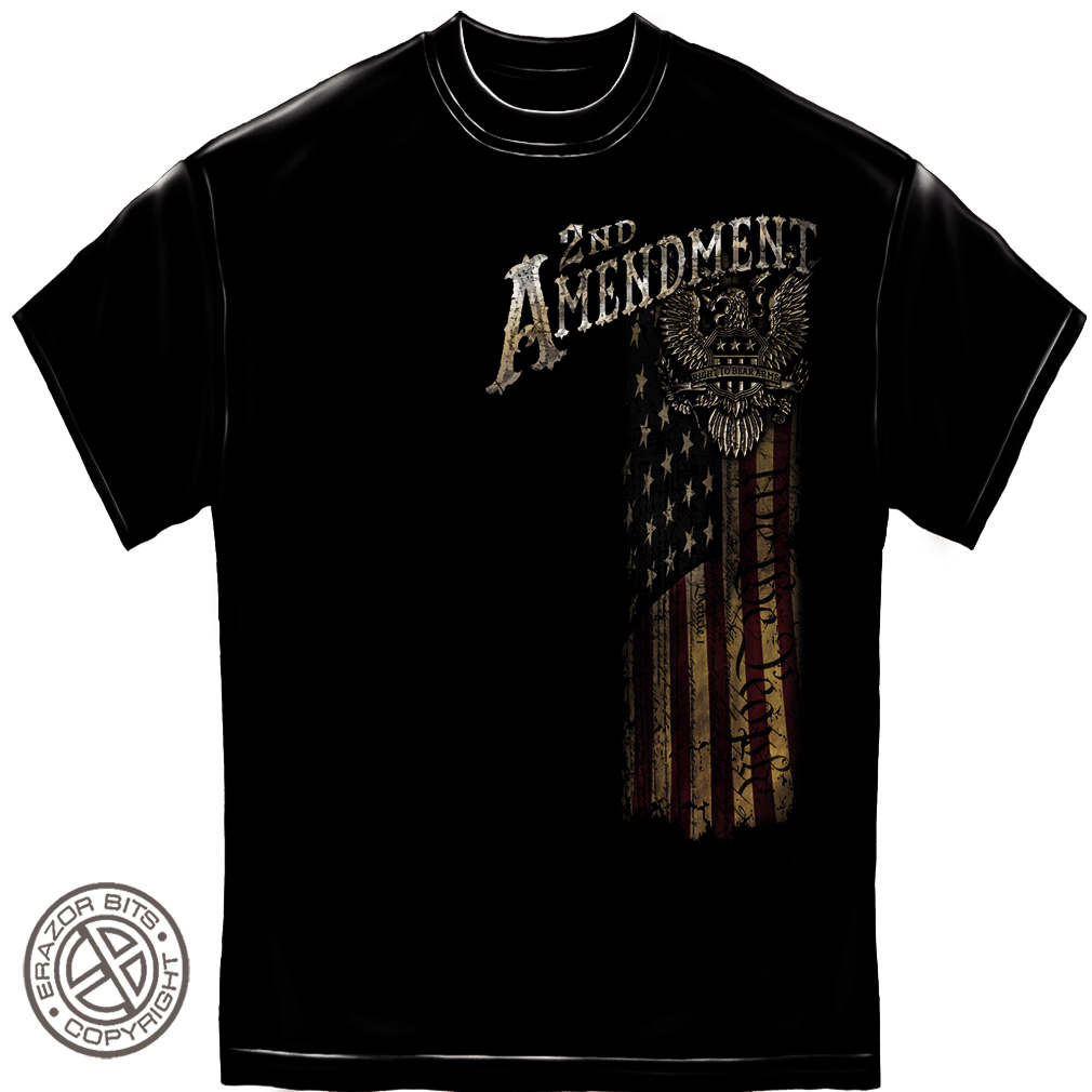 Erazor Bits Black 100% Cotton 2nd Amendment Eagle T-Shirt (XL) Graphic Tee NEW
