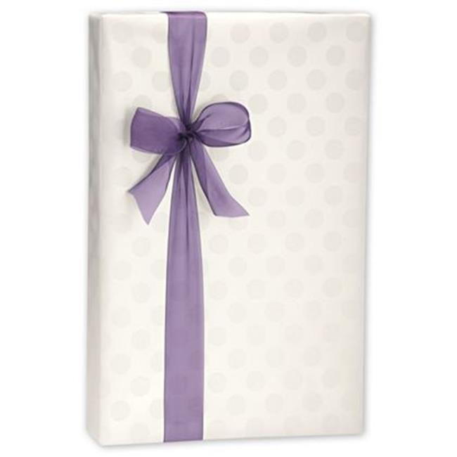 Deluxe Small Business Sales C-3106 24 in. x 100 ft. Polka Dots Pearl Gift Wrap, White on Silver