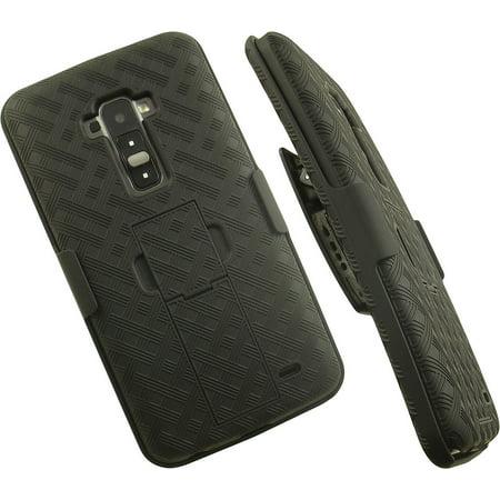 NAKEDCELLPHONE'S BLACK KICKSTAND HARD CASE COVER + BELT CLIP HOLSTER STAND FOR LG G FLEX GFLEX PHONE (AT&T D950, Sprint LS995, T-Mobile D959n, Unlocked F340 D955 D958 D959 F340s -