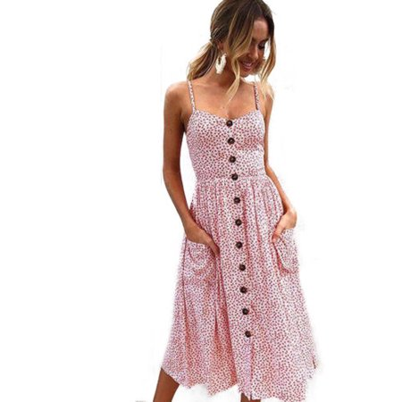 d0700c8762 Vista - Women Holiday Strappy Floral Maxi Dresses Summer Beach Party Midi  Swing Sundress - Walmart.com