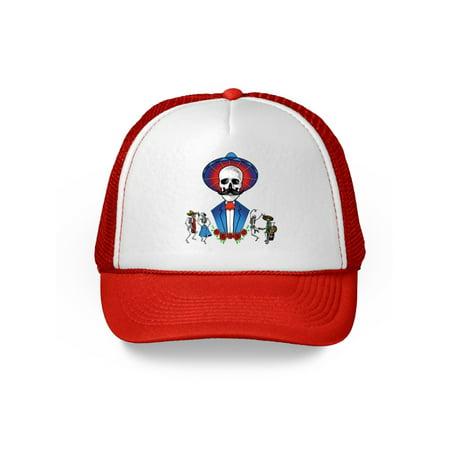 6c3e2451a34 Awkward Styles Mustache Skull Trucker Hat Mexican Skull Hat Sugar Skull  Gifts for Men and Women