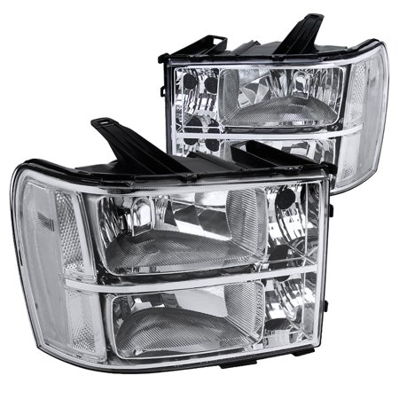 Spec-D Tuning 2007-2013 Gmc Sierra Pickup Chrome Headlights Clear 2007 2008 2009 2010 2011 2012 2013 (Left + Right)