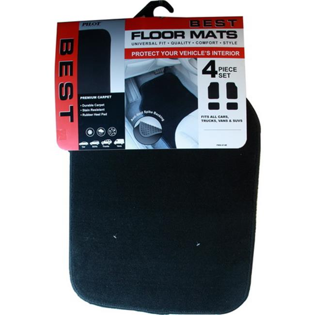Pilot Automotive FMX-014E Universal Fit H. D.  Carpet Floor Mat 4 Piece, Black