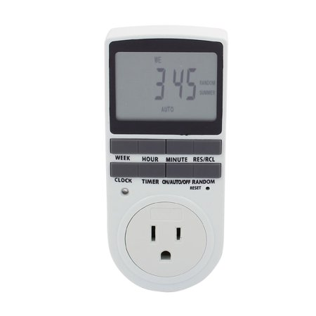 120V US Socket 1800W TS-839 Digital Programmable Timer Plug 3 Prong Outlet 24H Features Digital Timer24h Operation15 Minute Segments,easy to set upIdeal for home security - timer can be set to switch lights and stereo equipment ON/OFF.Convenient - timer operates electrical appliances automatically as requiredSuitability - timer operate on light fittings and appliances that fall within the maximum safe inductive and resistive loadsDescriptionPlug: US StandardMax. Work Load: 1800WVoltage: 120VCurrent:15AAlign present time to pointerPush segments down for required ON timePackage Include1 x USA 120V 15A Program Timer