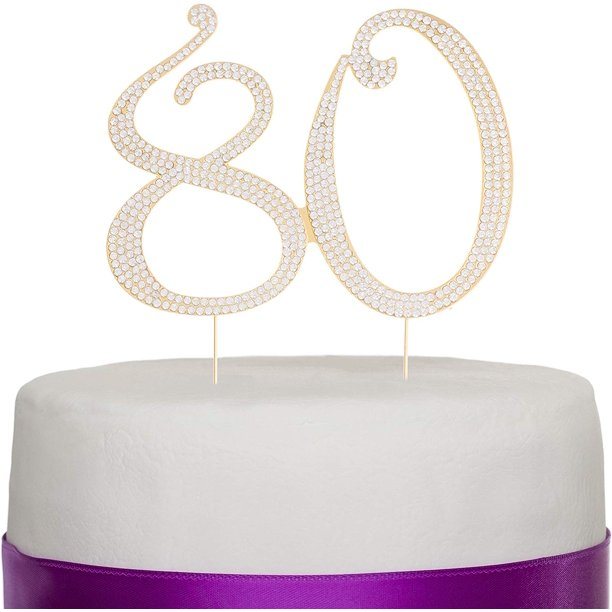 Fantastic 80 Gold Cake Topper For 80Th Birthday Party Crystal Rhinestone Funny Birthday Cards Online Aboleapandamsfinfo