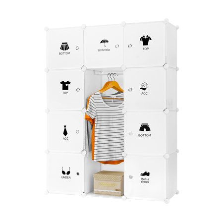 - LANGRIA 12-Cube DIY Interlocking Modular Shelving Storage Organizer Closet with Doors, Simple Hanging Rod, Clothing Fashion Icon Stickers and Red Lip Stickers