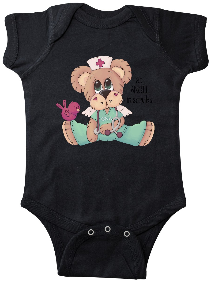 inktastic CNA an Angel in Scrubs Teddy Bear Long Sleeve Creeper