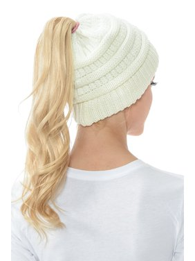 8da332d82289a Product Image Women Beanie Hat Tail Knit Hat -Winter Warm Beanie Tail Soft  Stretch Cable Knit Messy