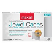 Maxell 40-Pack CD-DVD Slimline Jewel Cases, Clear
