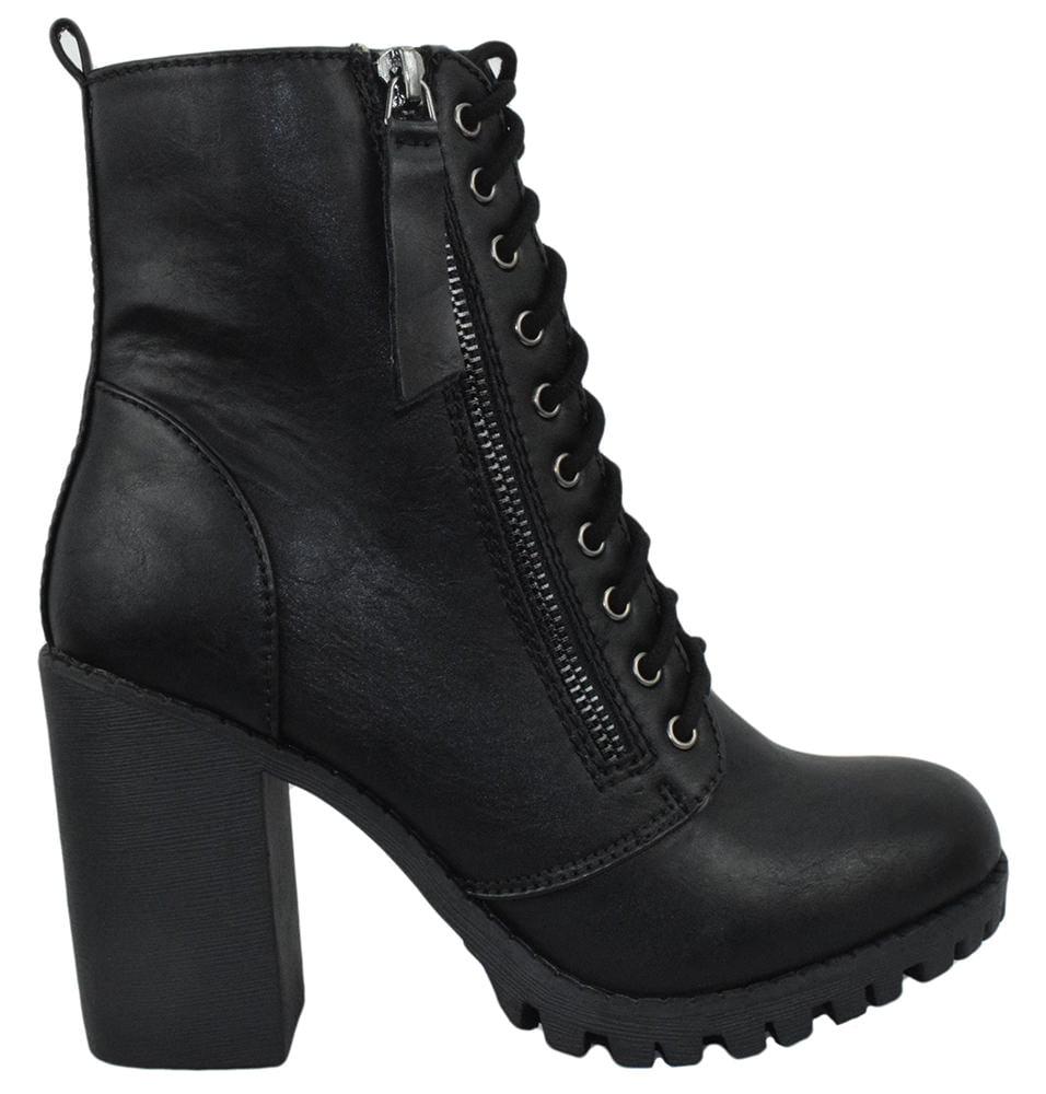 eeadb27ed38 Malia Black Soda Riding Booties Women Chunky High Heel Combat Ankle Boots  Army Military