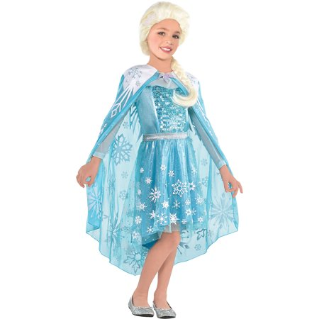 Suit Yourself Frozen Elsa Cape for Children, One Size, Features Frosty Blue with White Snowflake Designs and Glitter