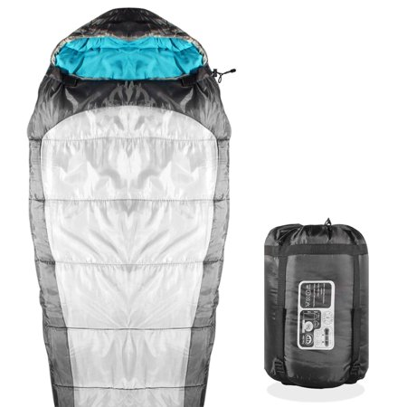 - KHOMO GEAR - 3 Season - Mummy Sleeping Bag For Hiking Camping & Outdoor Activities - Compression Bag Included Grey