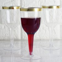 Efavormart 60 Pack 6oz Gold Rimmed Clear Champagne Flutes Cocktail Disposable Plastic Goblets Glasses For Wedding...