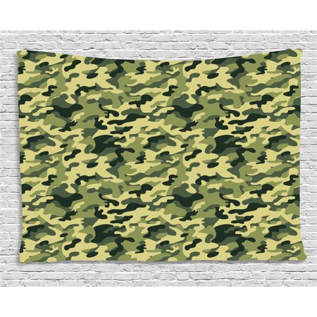 Camouflage Tapestry, Army Clothing Motif with Pale Color Splashes Abstract Military Patterned Image, Wall Hanging for Bedroom Living Room Dorm Decor, 60W X 40L Inches, Green Yellow, by Ambesonne