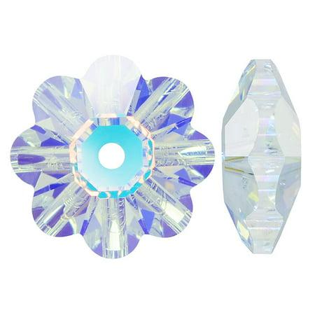 Swarovski Crystal, #3700 Flower Margarita Beads 6mm, 12 Pieces, Crystal AB Ab Swarovski Crystal Cube Beads