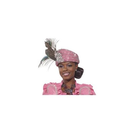 Donna Vinci Couture Hats H1475 Exclusive Rhinestone Church Hat In Bubblegum