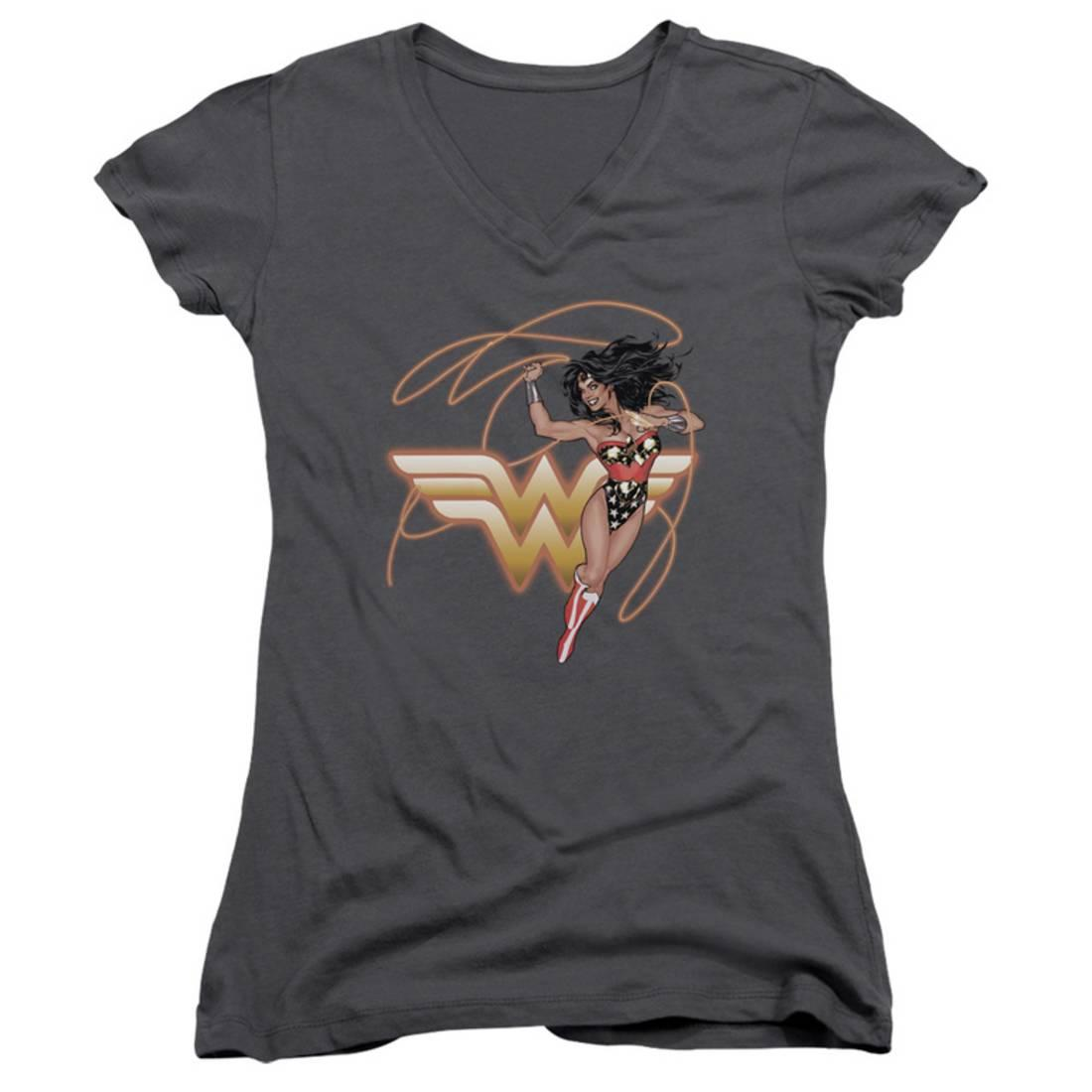 Juniors: Wonder Woman- Shining Hero V-Neck Apparel Womens V-Necks - Grey