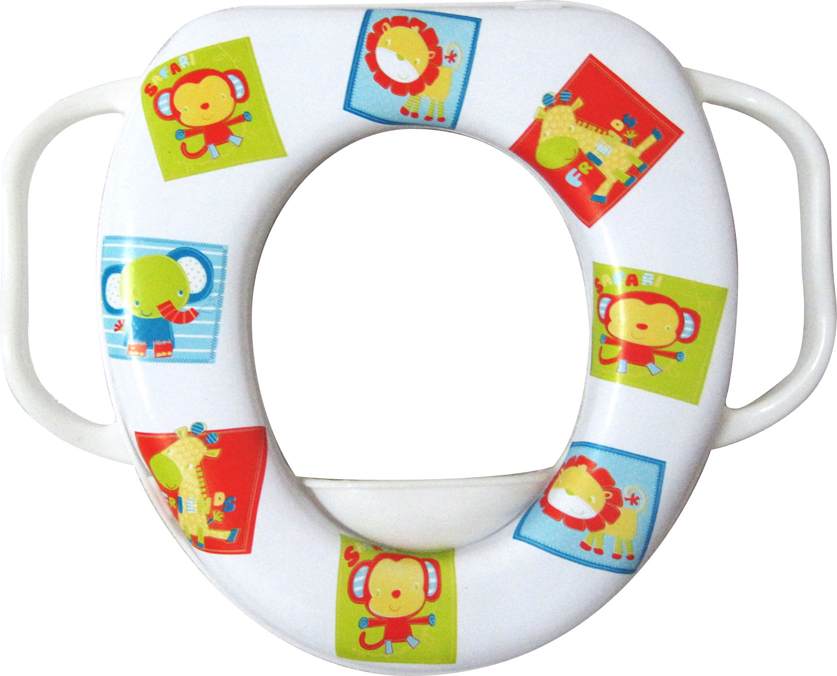 Easy Grip Handles Baby Soft Toilet Toilet Trainer Seat Jungle Animals by Evideco