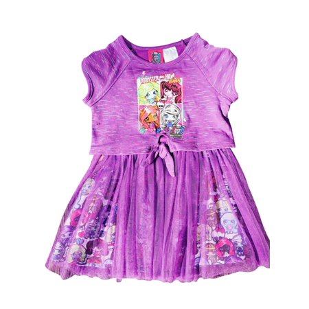 Monster High Tie Front Sweatshirt Tee Dress with Tulle Bottom Purple Size