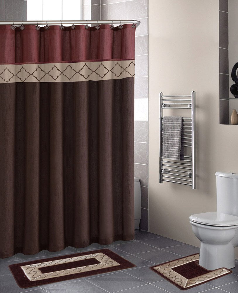 Dynasty Burgundy Diamond 15 Piece Bathroom Accessory Set 2 Bath Mats Shower Curtain 12 Fabric Covered Rings