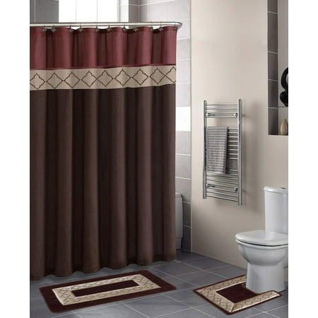 15pc Dynasty Brown Bathroom Set Printed Banded Rubber Backing Rug