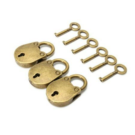 3pcs/set Antique Zinc Alloy Bear Bag Shape Lock Catch Decorative Mini Padlock with Keys