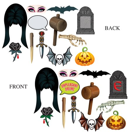 Club Pack of 144 Elvira Mistress of the Dark Double Sided Halloween Photo Fun Signs 16