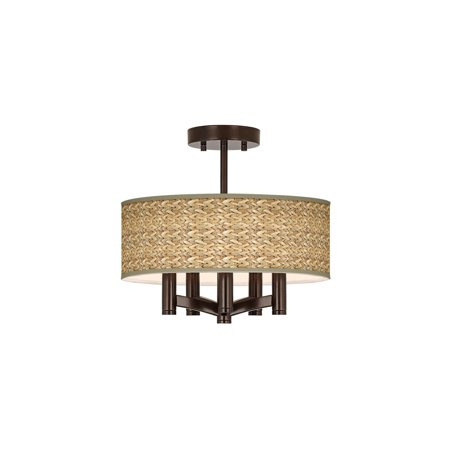 Drum Ceil Fixture (Giclee Glow Tropical Ceiling Light Semi Flush Mount Fixture Tiger Bronze 14