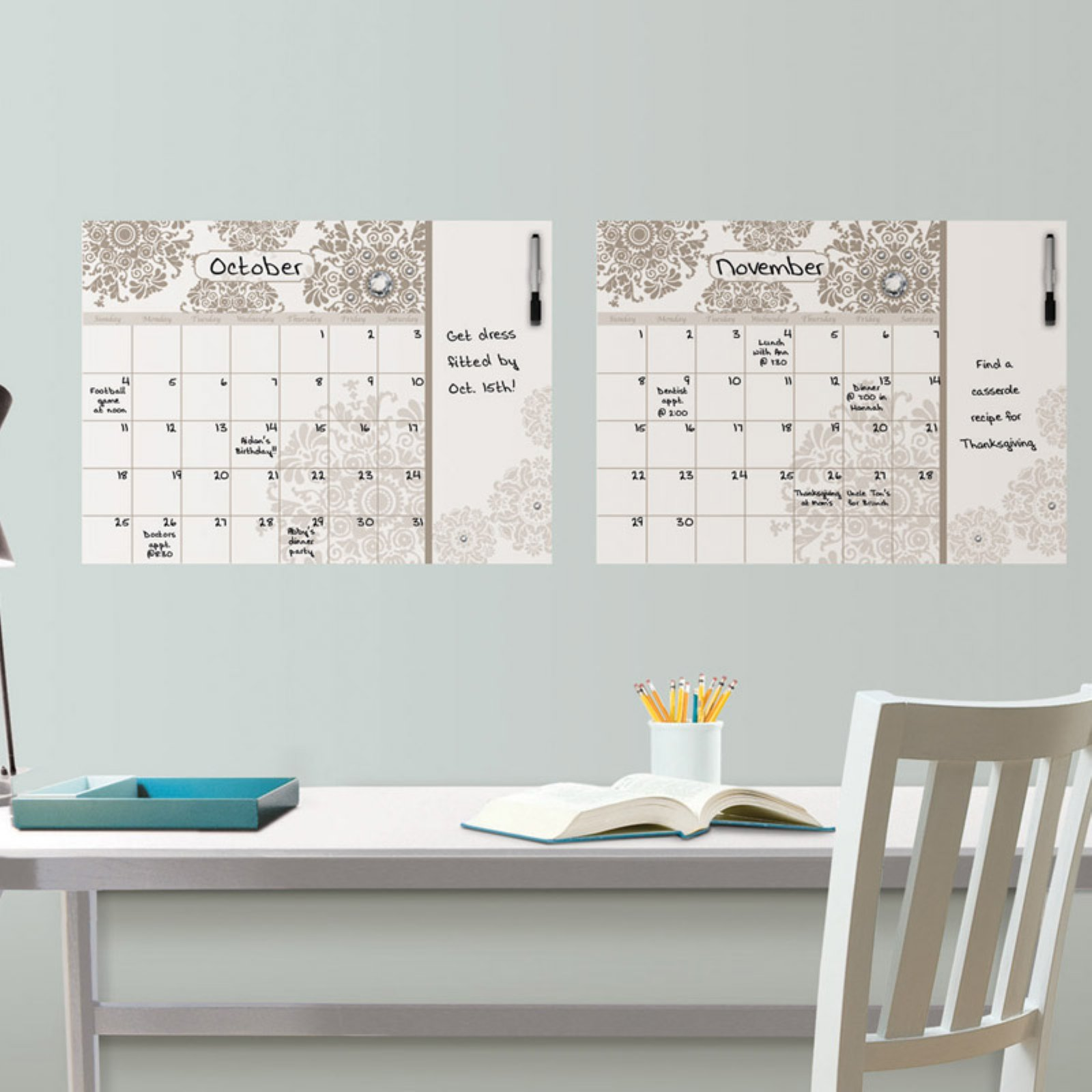 Brewster Kolkata Monthly Calendar With Notes Wall Decal - Set of 2