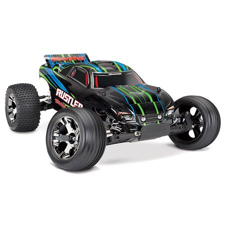 Rustler VXL: 1/10 Scale Stadium Truck with TQi Traxxas Link Enabled 2.4GHz Radio System & Traxxas Stability Management (TSM) -  tra37076-4_GRN