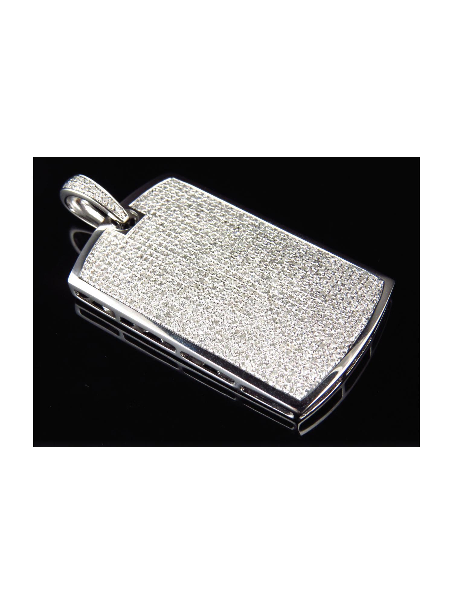 """3.20 CT Diamond Mini Micro Dog Tag Pendant 2/"""" Charm 14K White Gold Finish Mens"""