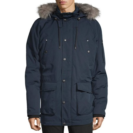 SwissTech Men's Down Parka Jacket with Hood, up to Size 5XL