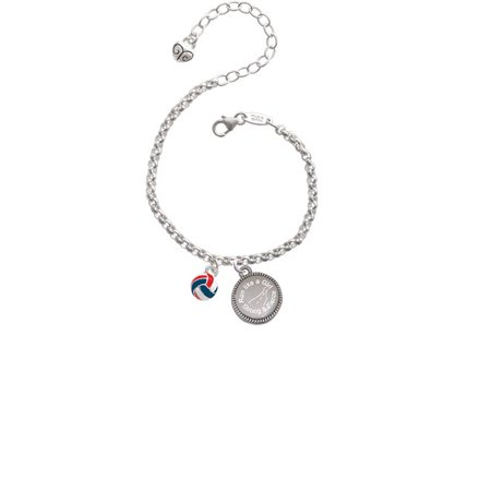 3-D Red White & Blue Volleyball Run Like a Girl - Strong and Fierce Engraved Bracelet - Red White And Blue Bracelet