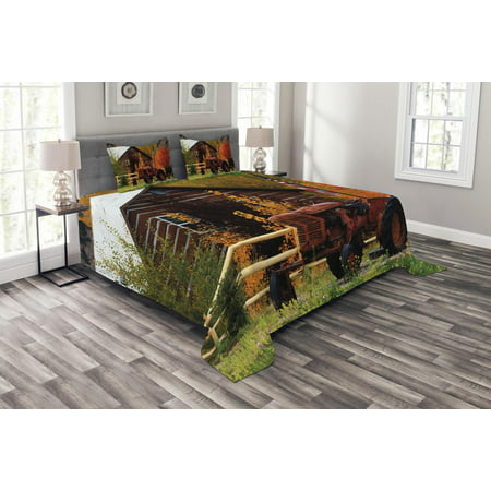 Fall Bedspread Set, Rustic Cabin with Rusty Tractor Country Cottage House Seasonal Colors US Flag Loyalty, Decorative Quilted Coverlet Set with Pillow Shams Included, Multicolor, by Ambesonne ()