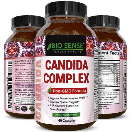 Bio Sense Candida Cleanse Supplement - Natural Candida Albicans Detox Pills for Good Digestion with Probiotics - Relieve Bloating Indigestion Fatigue Sugar Cravings Fast 60 Capsules