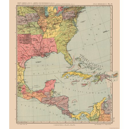 International Map - Southeast US - Streit\'s Atlas 1913 - 23 x 26.79 ...