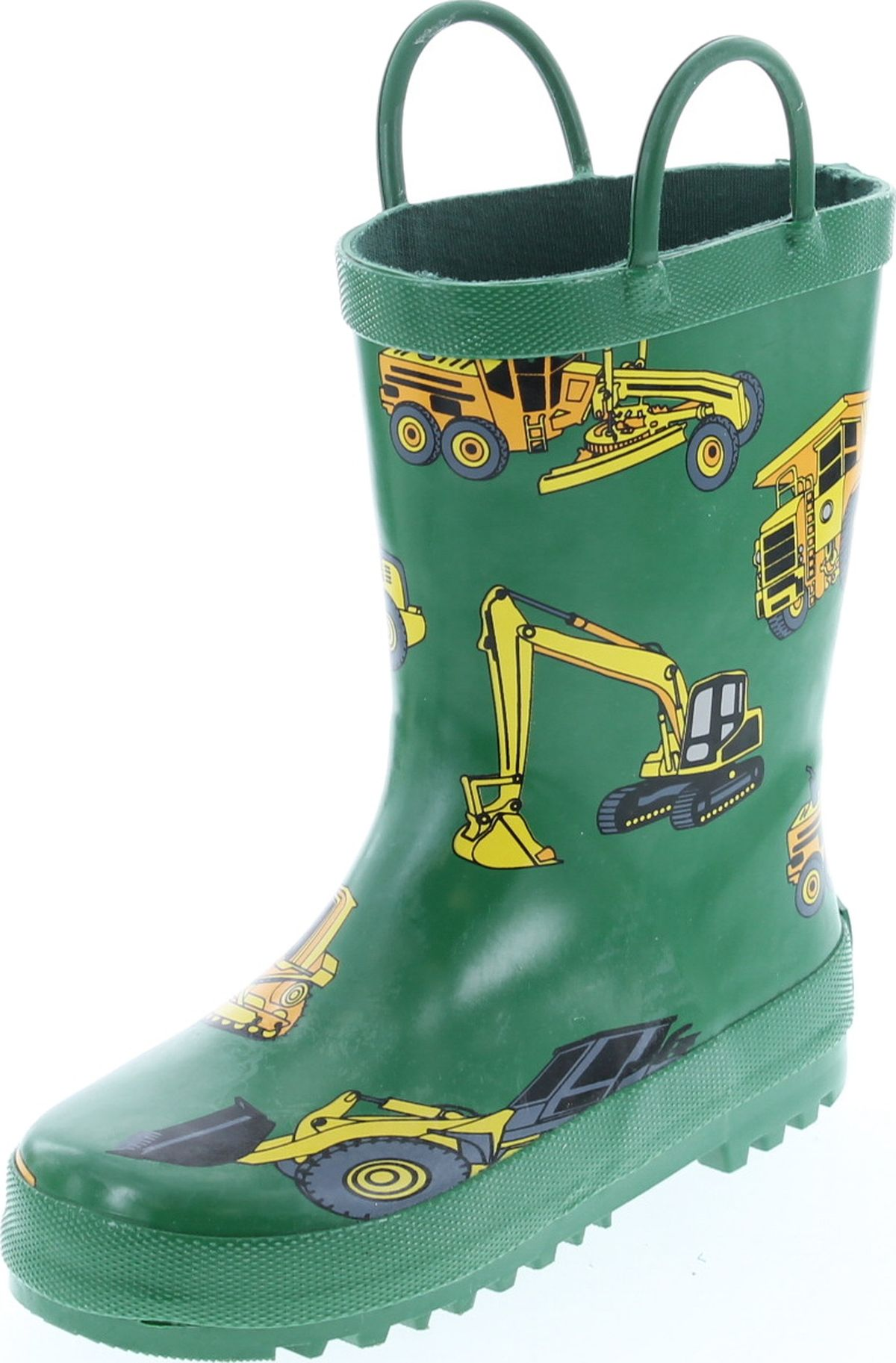 Foxfire For Kids Green with Constuction Equipment Rubber Boots Matte Finish