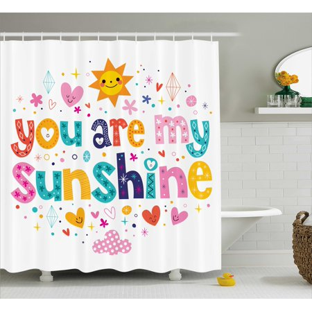 Animal Print Theme (Quotes Decor Shower Curtain, Cute Love Text Print Made by Fun Happy Animal and Heart Figures Kids Nursery Theme , Fabric Bathroom Set with Hooks, 69W X 70L Inches, Multi,)