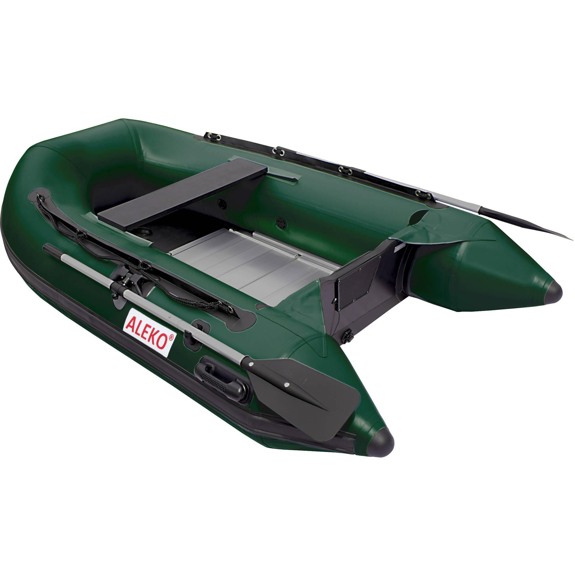 ALEKO Inflatable 3-Person Fishing Boat - Aluminum Floor - 8.4 Feet - Dark Green