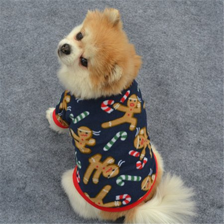 Pet Dog Puppy Christmas Autumn Winter Warm Pullover Embroidered Clothes Coat -