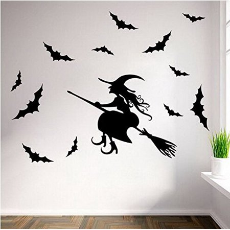 HALLOWEEN DECOR ~ Flying Witch and Bats ~ HALLOWEEN: WALL OR WINDOW DECAL, Witch and 12 Bats