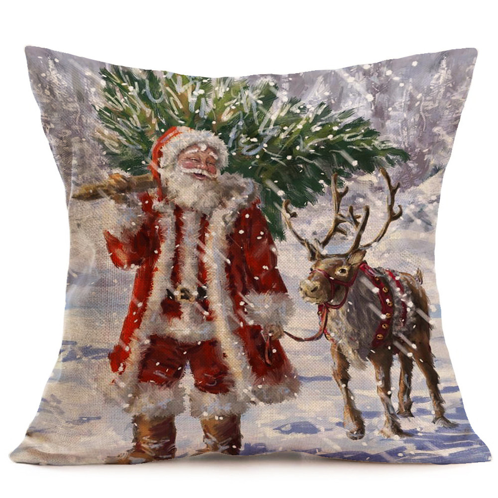 Hot Sale Merry Christmas Home Shops Sofa Bed Car Seat Linen Square Pillow Case Santa Claus Decorative Cushion Cover Xmas Home Festival Decoration