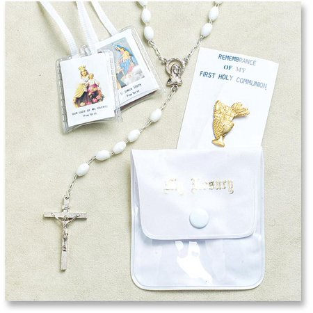 WJH White First Communion Rosary (First Communion Set)